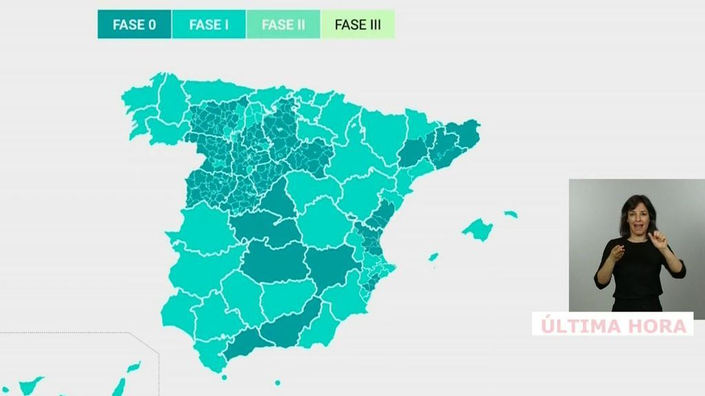 La lista de las comunidades o provincias que pasan a la fase 1 de la desescalada en España