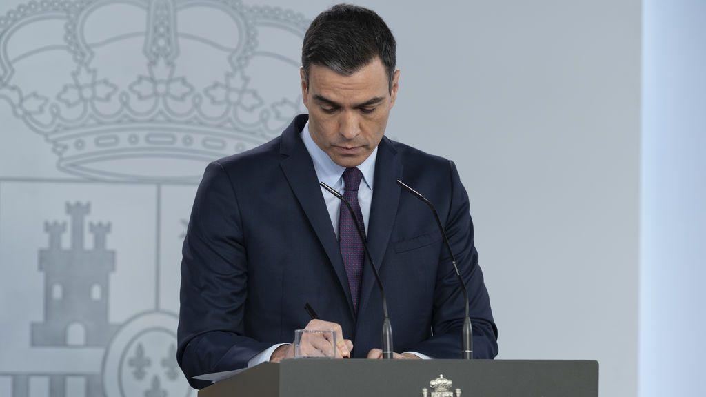 Sánchez en Moncloa durante una rueda de prensa