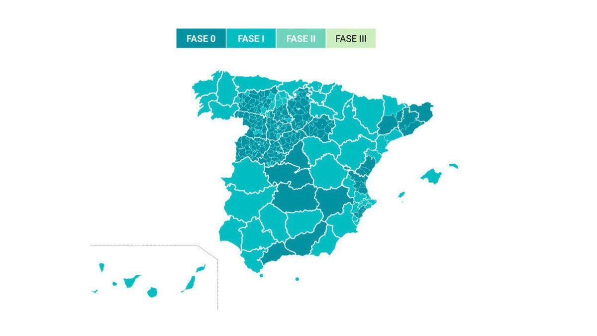 Estos son los territorios de España que pasan a la fase 1 de la desescalada
