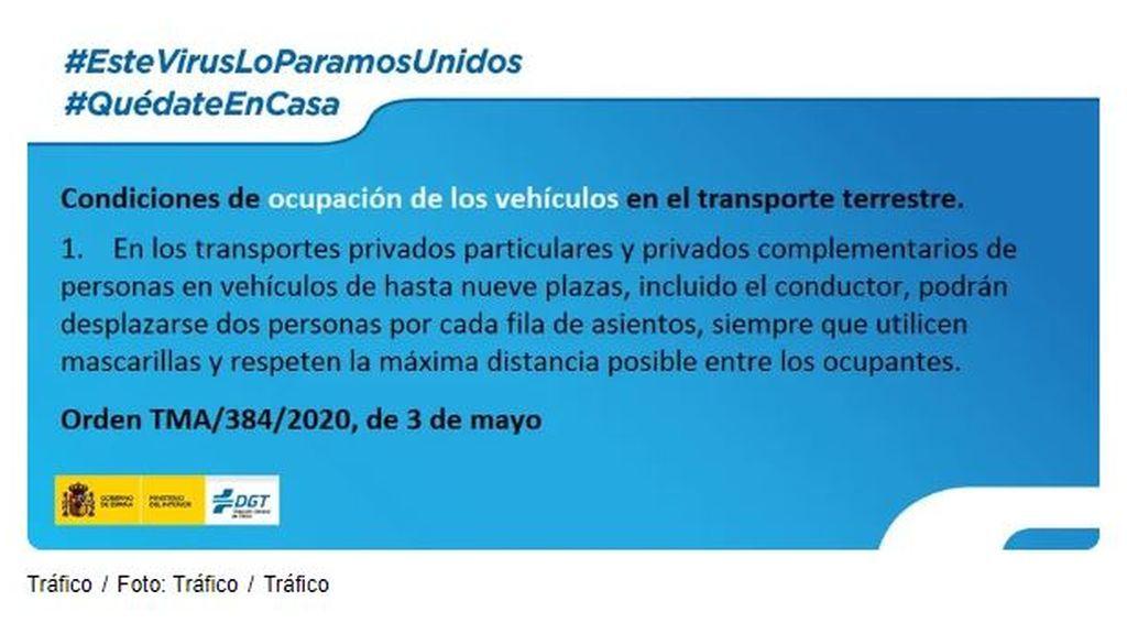 Condiciones de ocupación de los vehículos