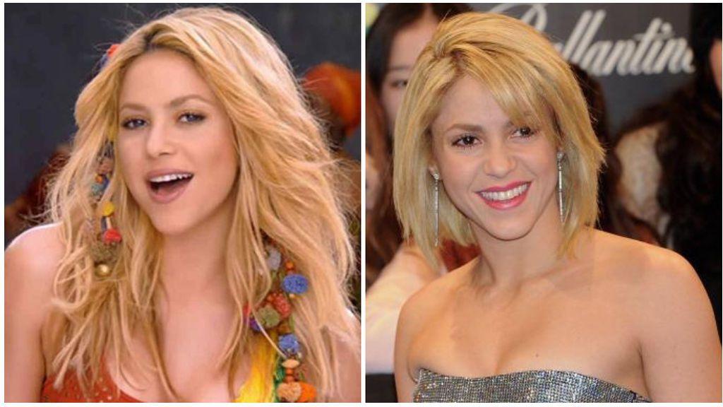 Shakira, en 'Waka, waka' y, con el pelo corto, un año después.
