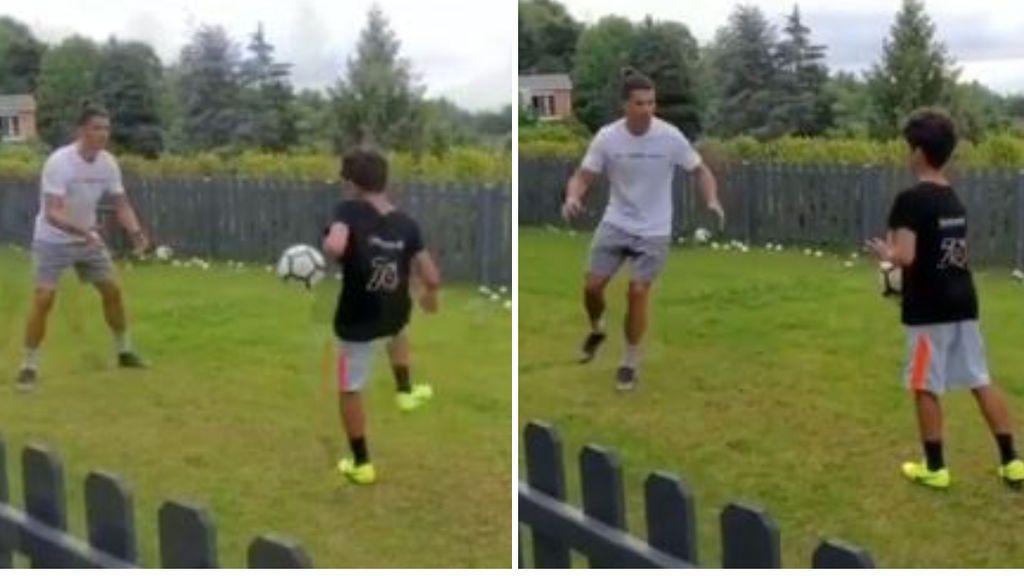 """Cristiano Ronaldo se pone a punto entrenando con su hijo: """"De tal palo, tal astilla"""""""