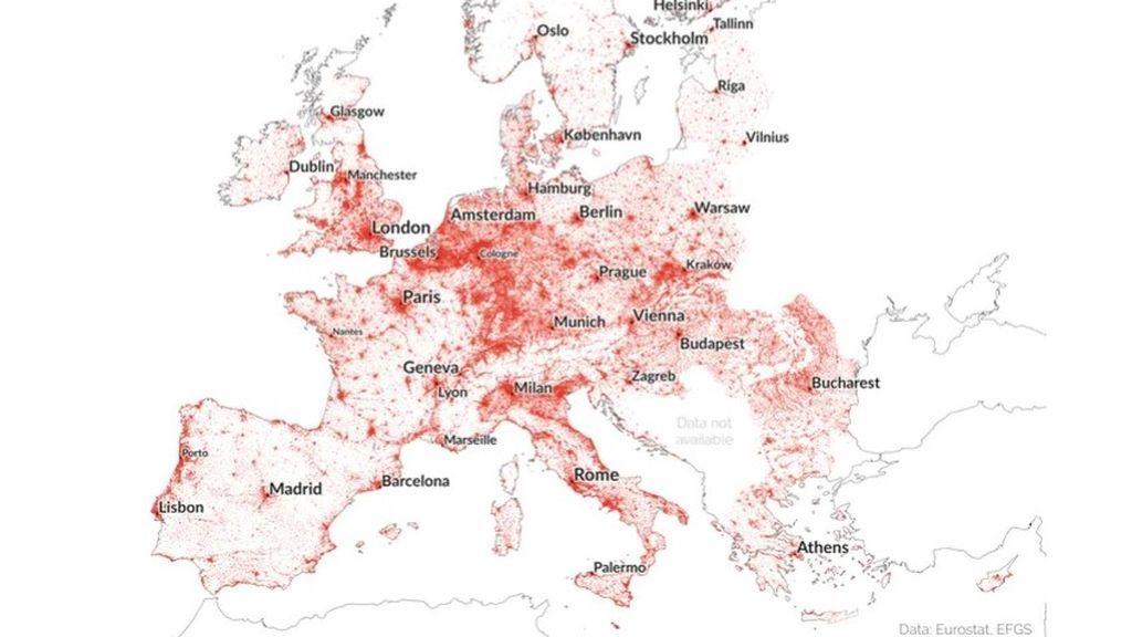 Vista de la columna vertebral de Europa