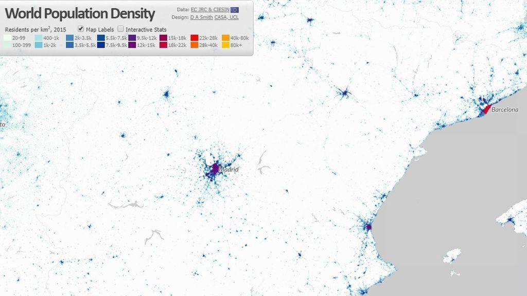 Densidad de población en Madrid y Barcelona
