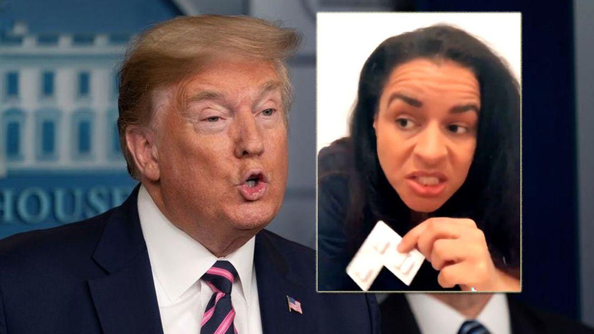 Donald Trump y su imitadora, la cómica Sarah Cooper