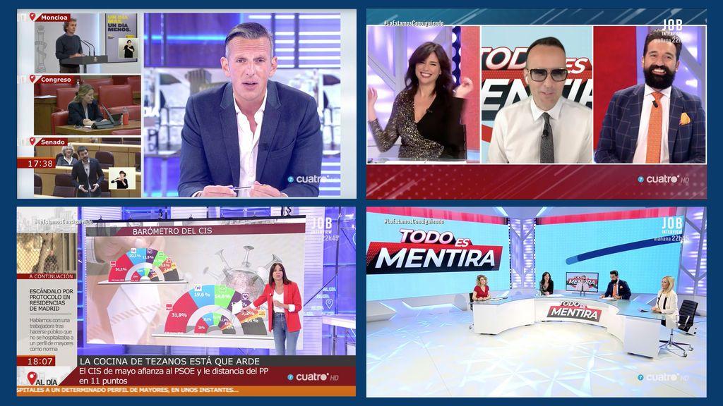 Cuatro firma su mejor tarde en martes desde 2018 con el tándem 'Todo es mentira' y 'Cuatro al día'