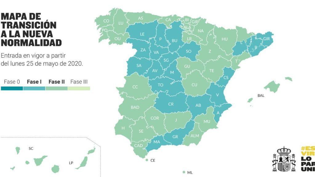 Toda España supera la fase cero y 22 millones de españoles están en fase 2