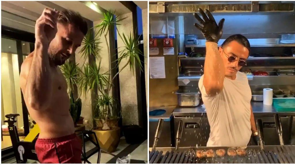 Joaquín imita al chef 'Salt Bae' echando sal en su cena con mucho arte