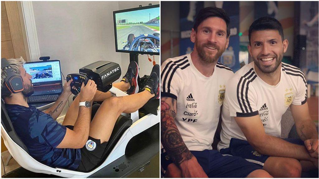 """Agüero habla con Messi en su retransmisión de Twitch y su conversación da la vuelta al mundo: """"¿Para qué escribiste a las nueve de la mañana?"""