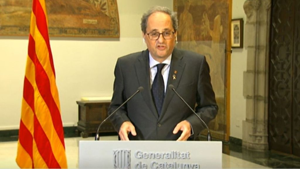 El presidente de la Generalitat, Quim Torra, durante su comparecencia desde el Palau de la Generalitat