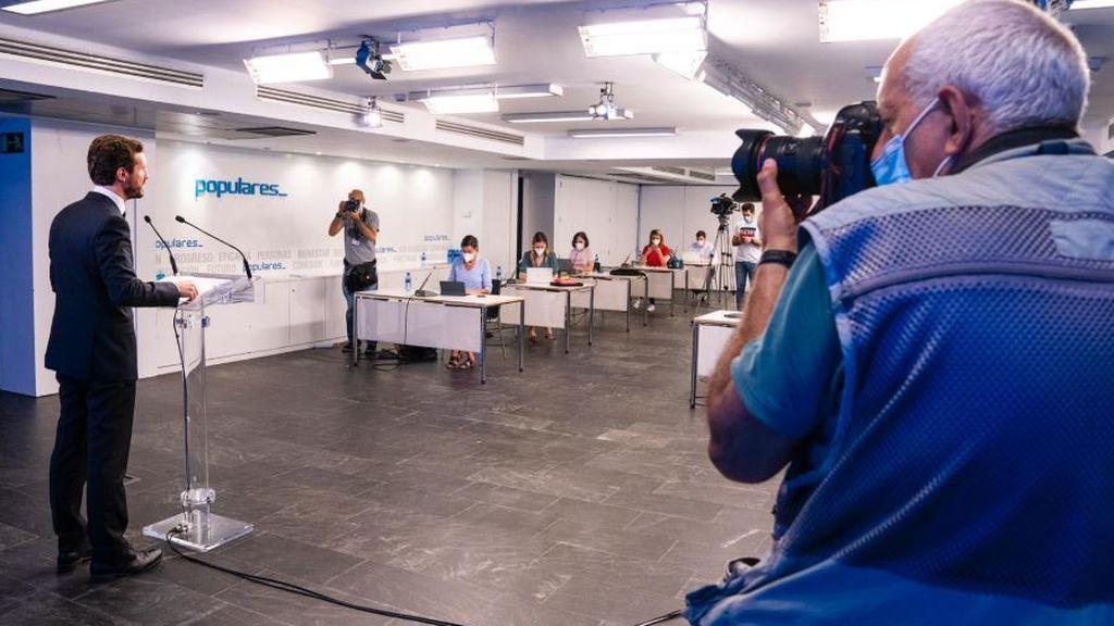 Casado ofrece la primera rueda de prensa presencial en dos meses