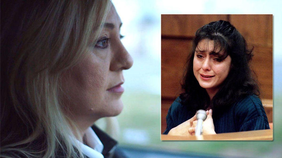 Lorena Bobbitt, en una imagen de 2019 y otra del juicio en 1994