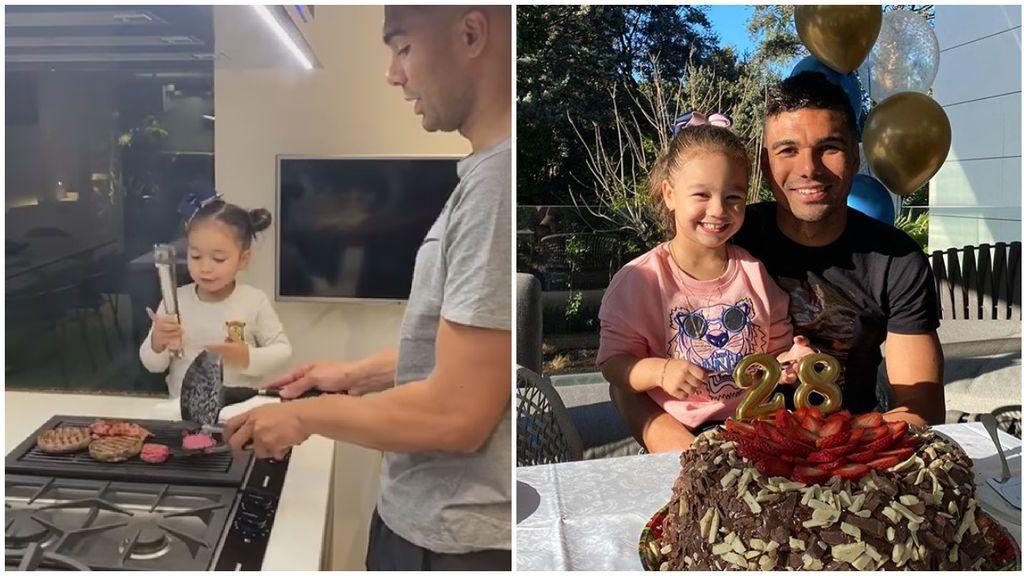 """Casemiro enamora a las redes haciendo la cena con su hija: """"Con la mejor ayudante de cocina del mundo"""""""