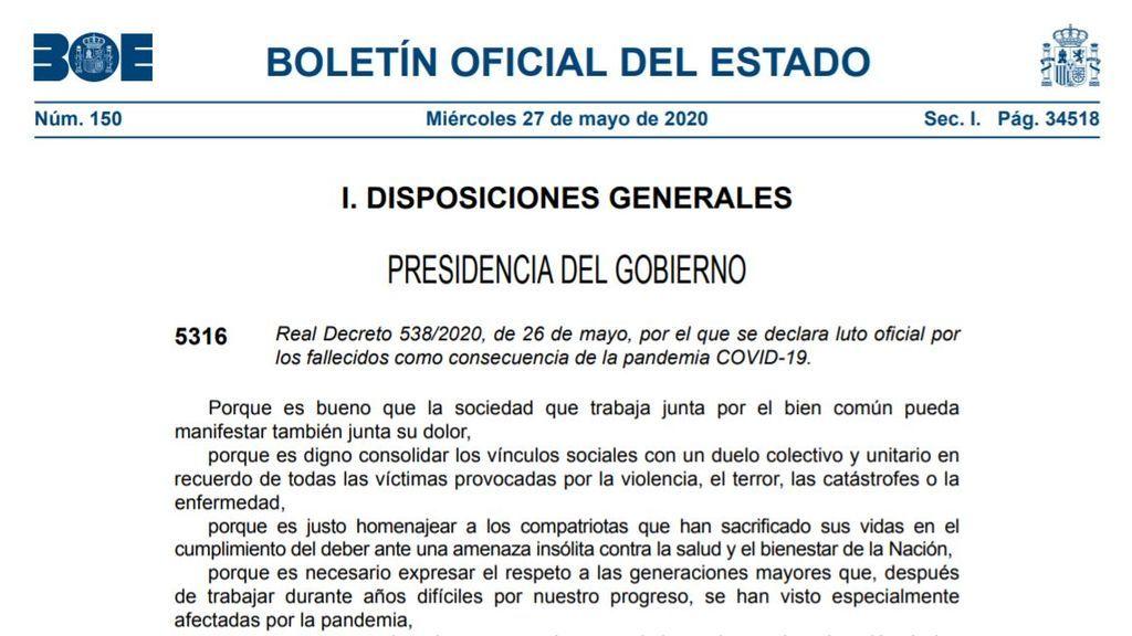 El BOE publica el Real Decreto de luto oficial