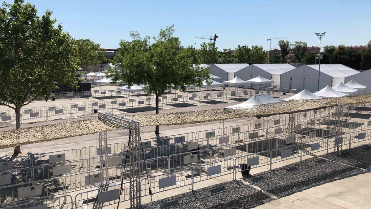 Carpas para hacer tests masivos en Torrejón, epicentro d COVID-19, a la espera del visto bueno de Sanidad