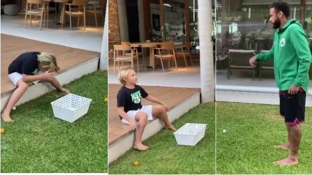 Neymar le gasta una broma a su hijo y le hace rematar un huevo con la cabeza