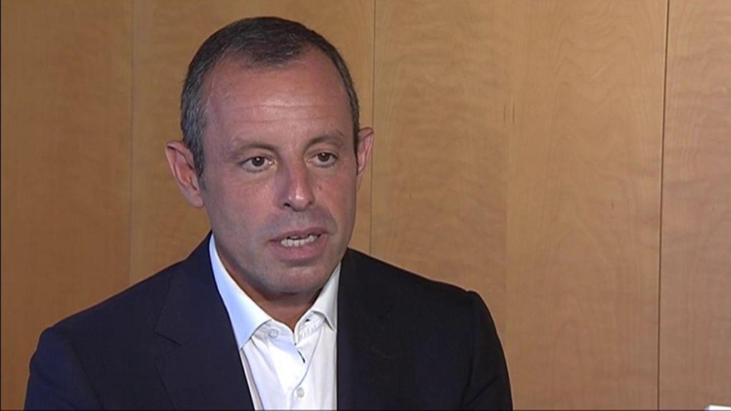 Sandro Rosell, durante la entrevista con Deportes Cuatro.