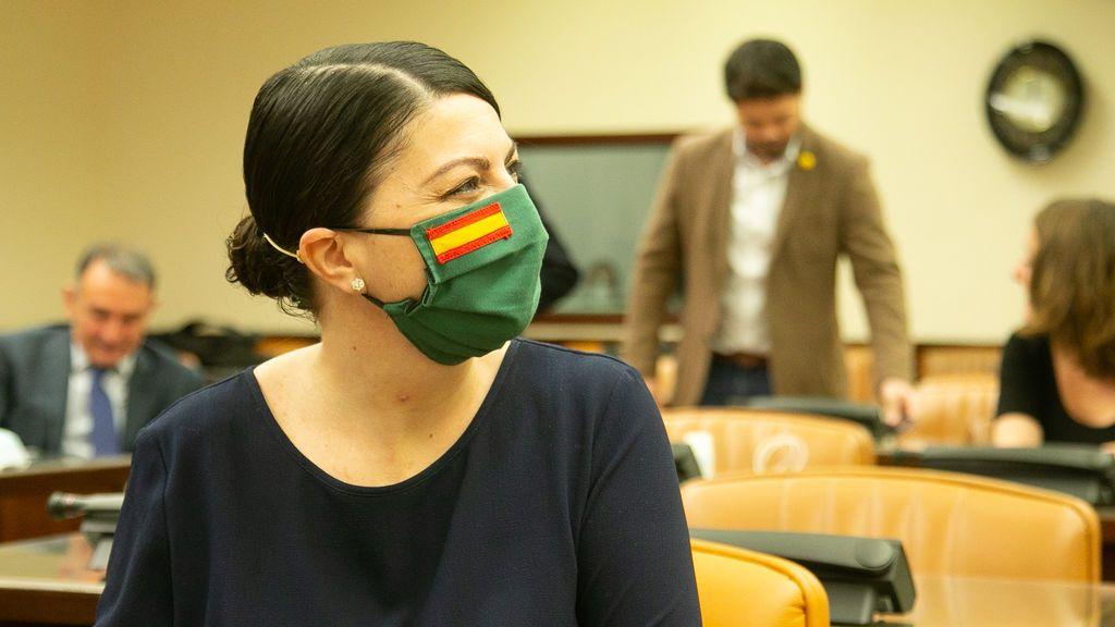 La diputada de Vox Macarena Olona en la comisión de Interior del Congreso.