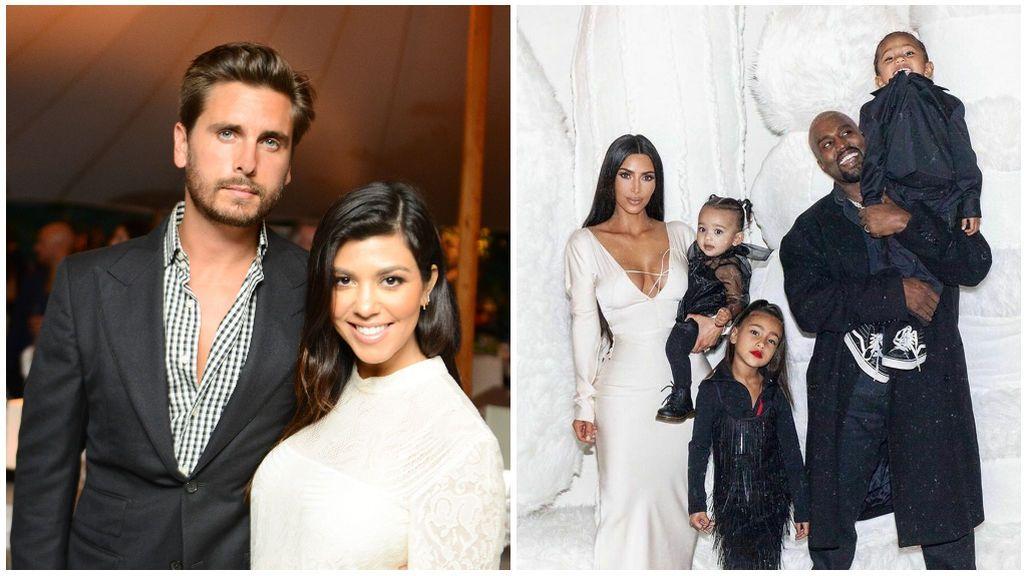 Kourtney y Scott Disick, a la izquierda, y Kim Kardashian, Kanye West y sus hijos, a la derecha de la imagen.