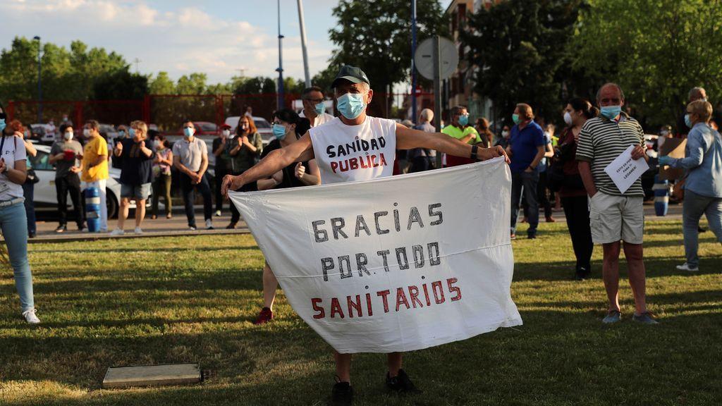Concentración en el hospital Severo Ochoa de Leganés el 25 de mayo