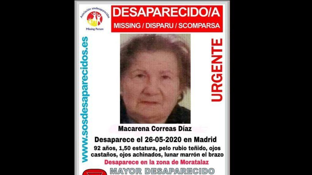 El distrito madrileño de Moratalaz se vuelca en la búsqueda de Macarena: una anciana de 92 años desaparecida
