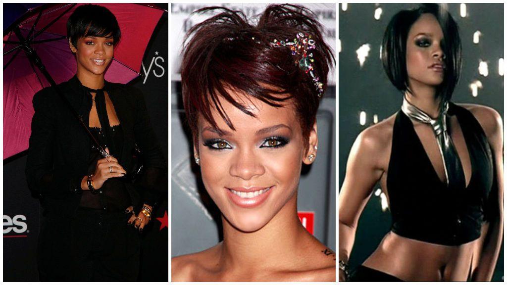 Rihanna, con el pelo corto y oscuro.