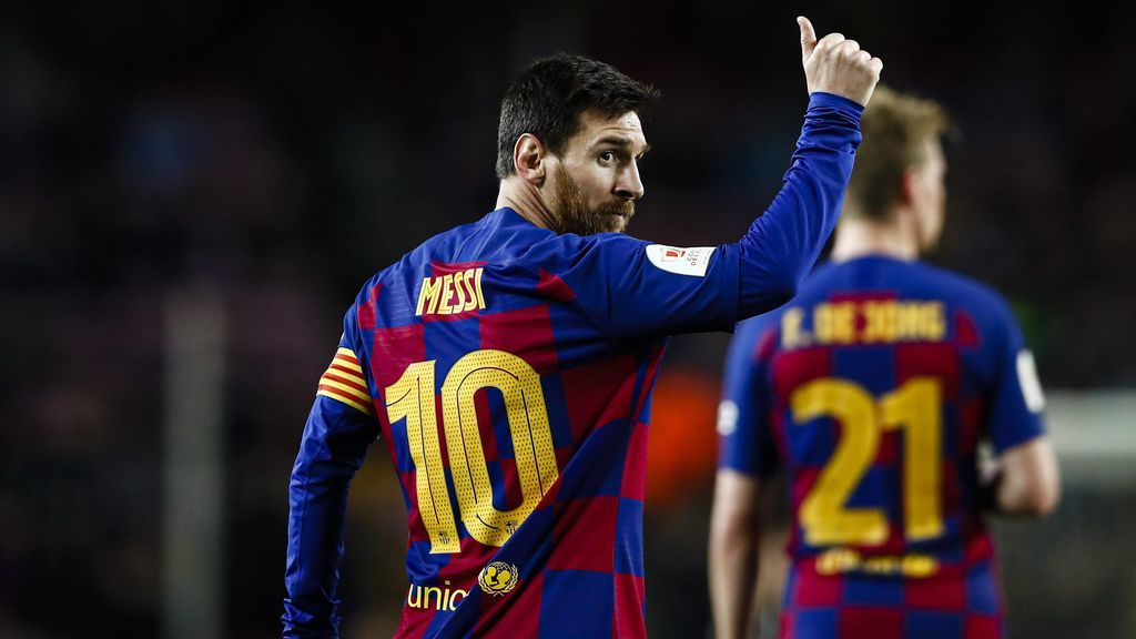 Messi hace un gesto a la grada tras marcar un gol.