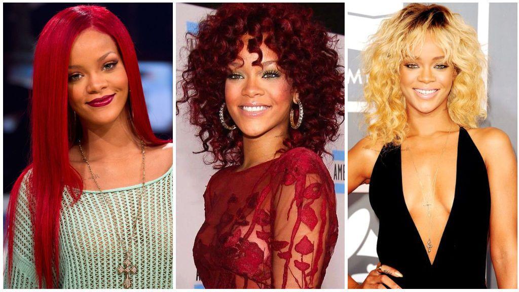 Rihanna con el pelo rojo y rubio, con marcadas raíces.