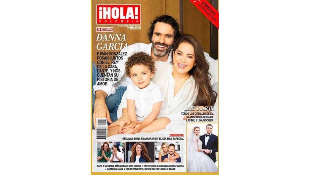 Danna García con Iván González y su hijo, Dante, en la revista Hola (Colombia)