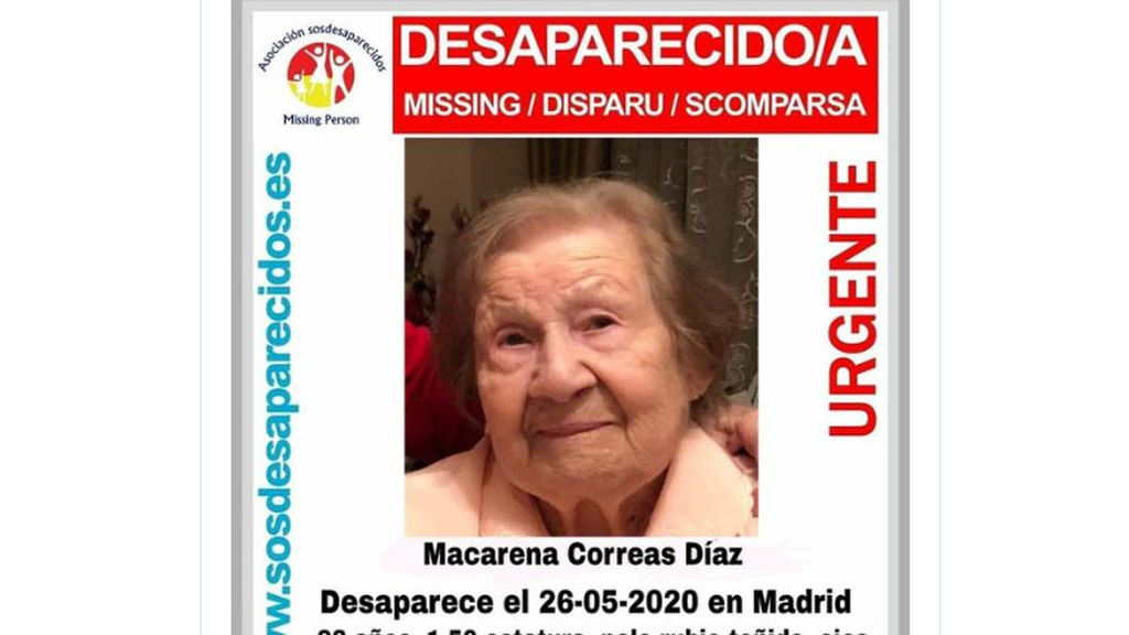 Se busca a Macarena Correas Díaz, de 92 años, en el distrito madrileño de Moratalaz