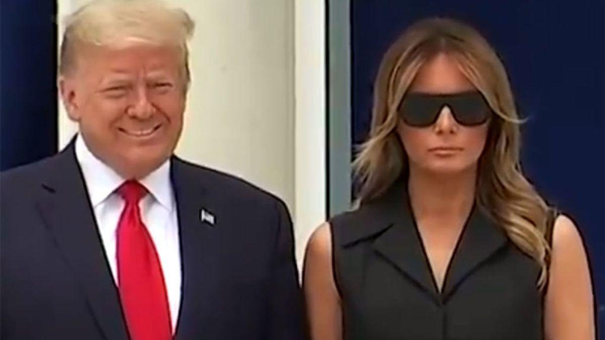 Trump fuerza a Melania a sonreír, en medio de las protestas por George Floyd, y su mueca es viral