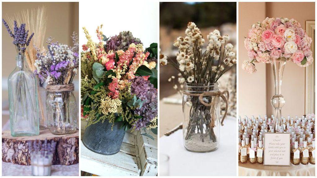 Centros de mesa para bodas con flores frescas y un recuerdo para los invitados.