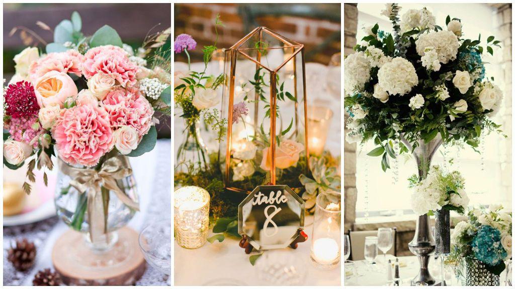 Centros de mesa con flores frescas.