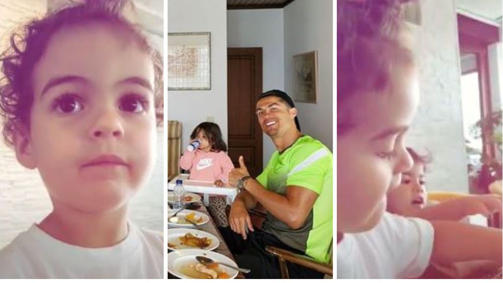 """A la hija de Cristiano Ronaldo se le escapa el alimento que no les deja comer el portugués: """"No, que papá se enfada"""""""