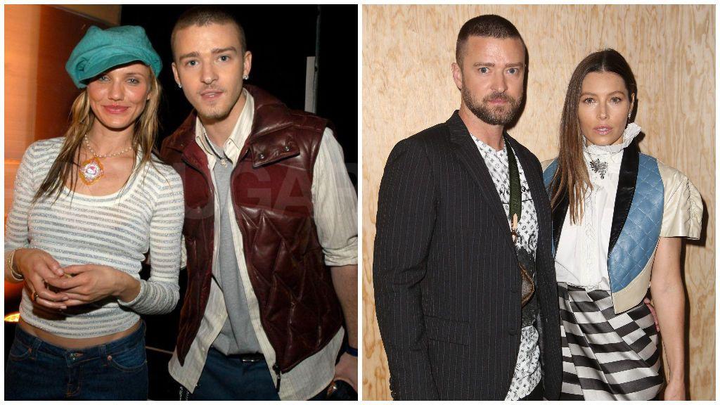 Justin con Cameron Díaz, a la izquierda de la imagen, y junto a Jessica Biel, a la derecha.