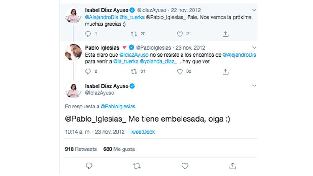 Conversación de Pablo Iglesias e Isabel Díaz Ayuso en Twitter