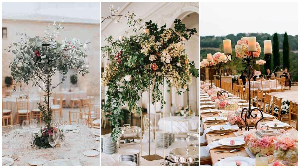 Los centros de mesa altos para boda.