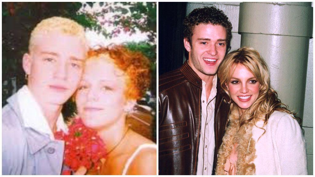 Justin junto a Verónica Finn, a la izquierda, y Britney Spears, a la derecha de la imagen.