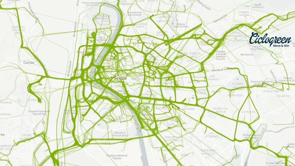 Mapa de Sevilla elaborado por Ciclogreen