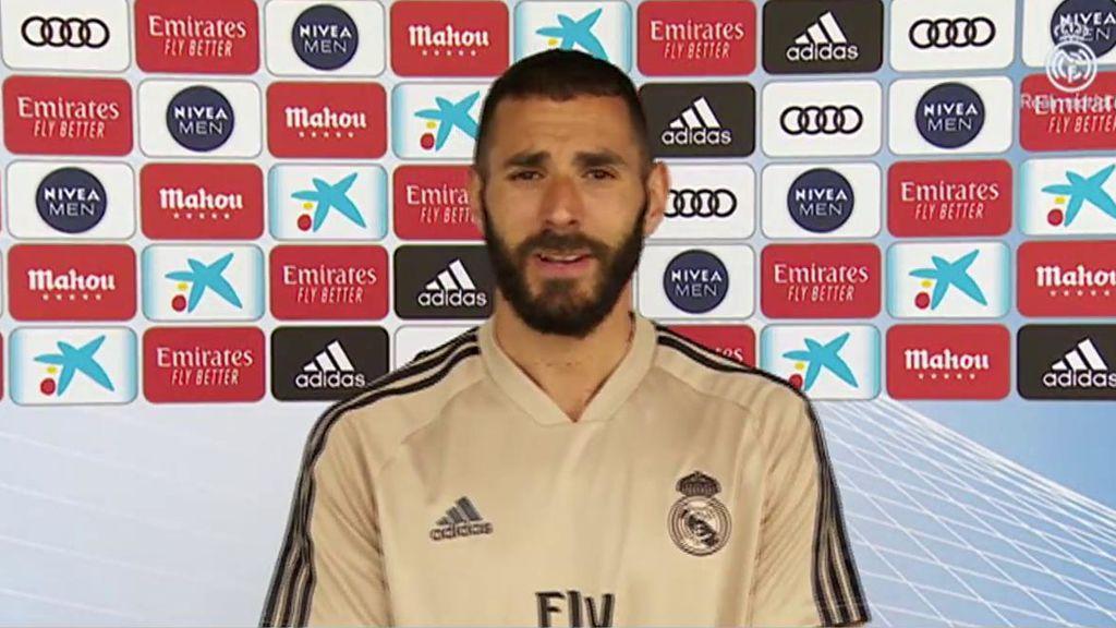 Benzema, declarando ante las cámaras del Real Madrid.