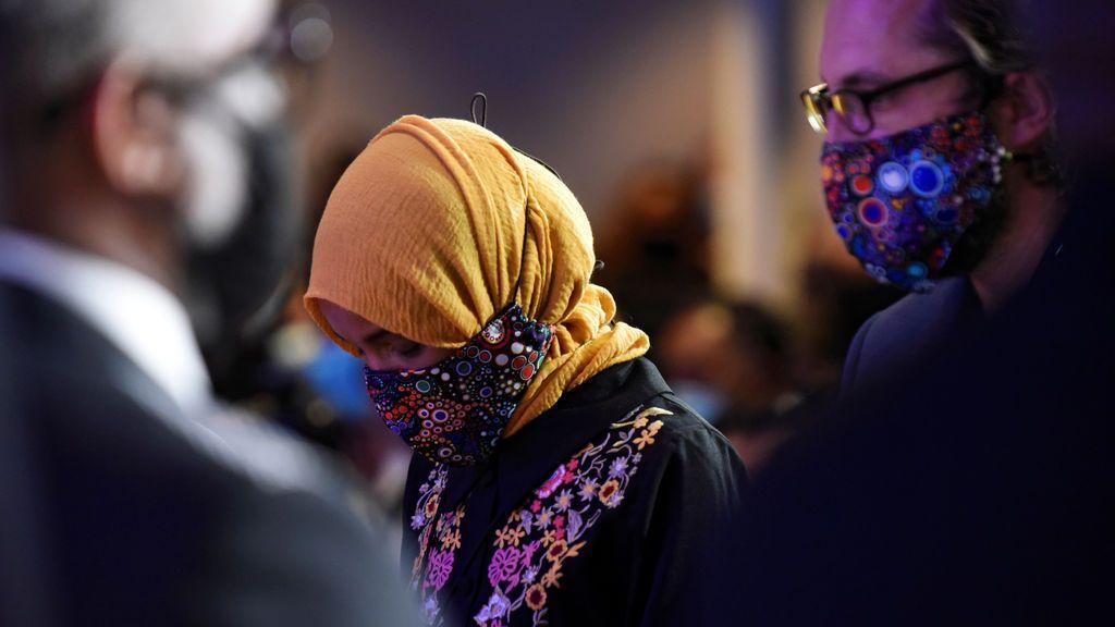 La congresista Ilhan Omar en el funeral de George Floyd