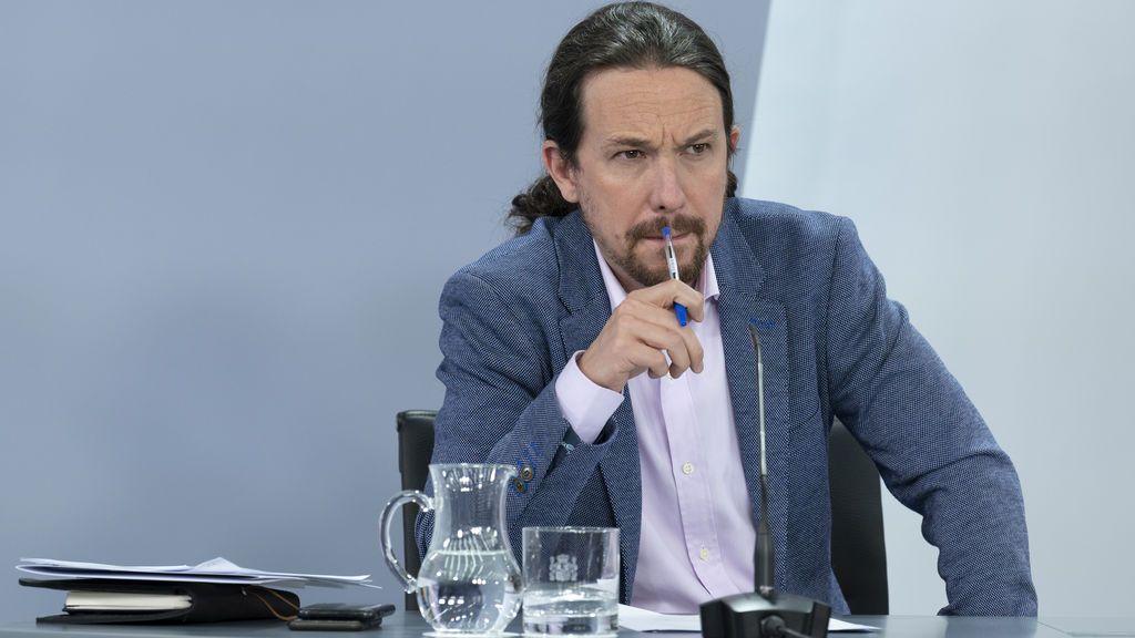 Pablo Iglesias, en la rueda de prensa en Moncloa