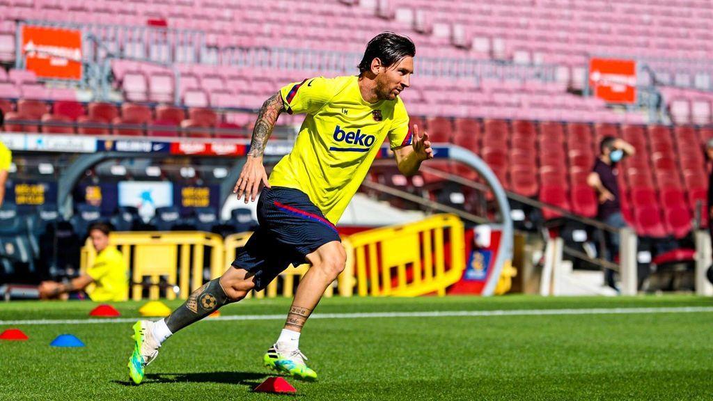 Messi, entrenando en el Camp Nou.