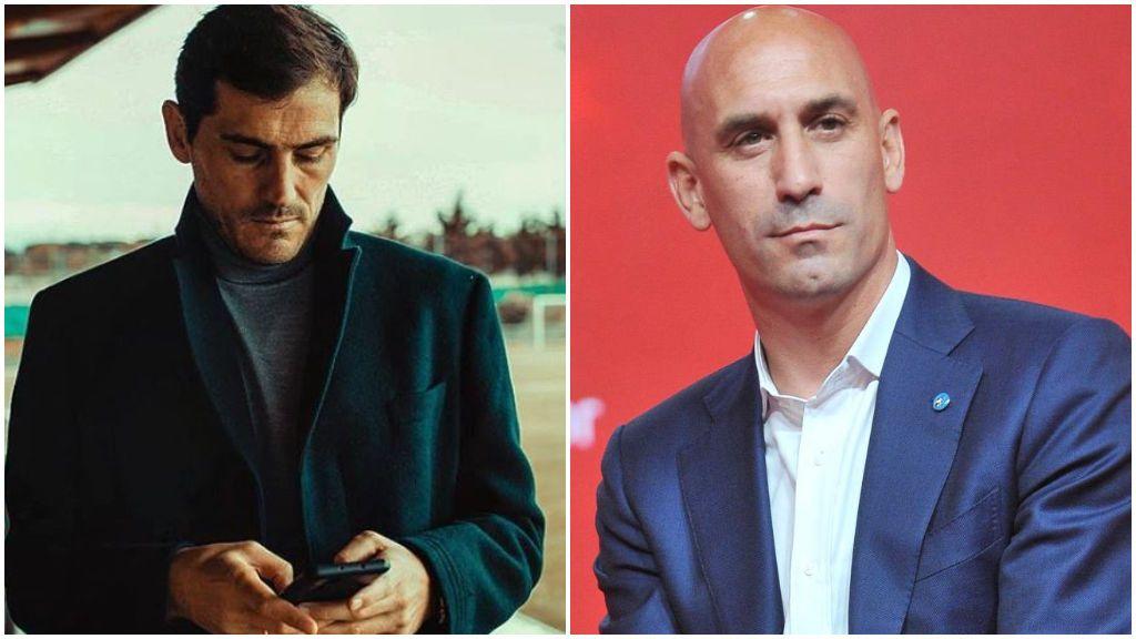 Casillas, en sus redes sociales, y Rubiales, en un acto.