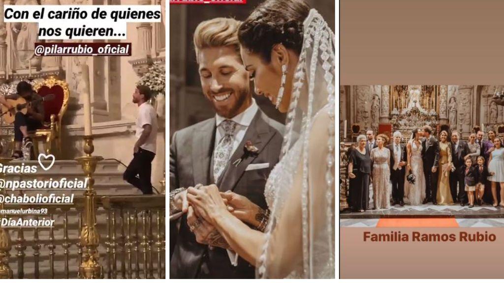 Sergio Ramos y Pilar Rubio durante su boda