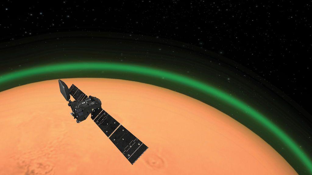 El orbitador TGo registra un resplandor verdoso en Marte