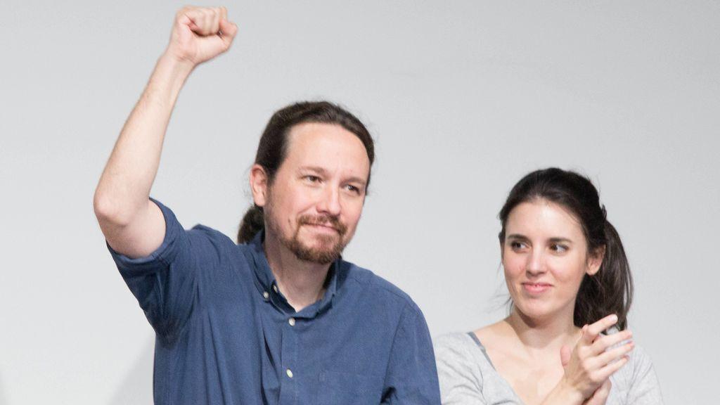 Irene y Pablo Iglesias en uno de sus mitines
