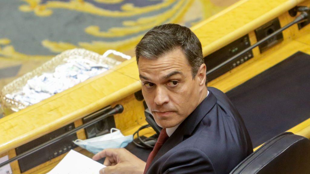 El presidente del Gobierno, Pedro Sánchez, en su escaño del Senado