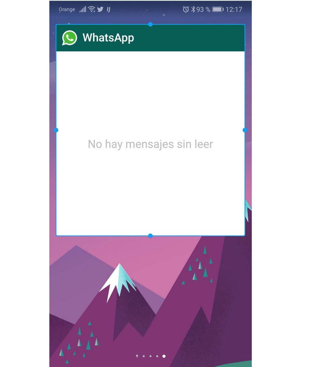 El widget de WhatsApp instalado en el móvil