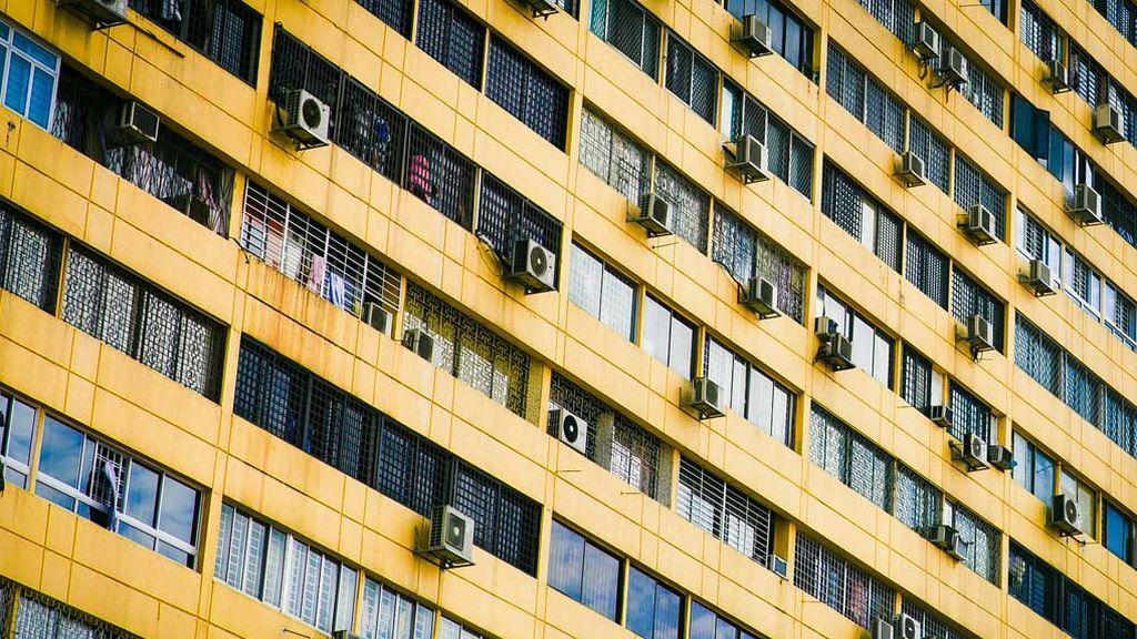 Aire acondicionado edificio de casas